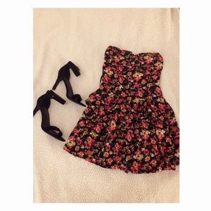 Multi colored flower mini dress